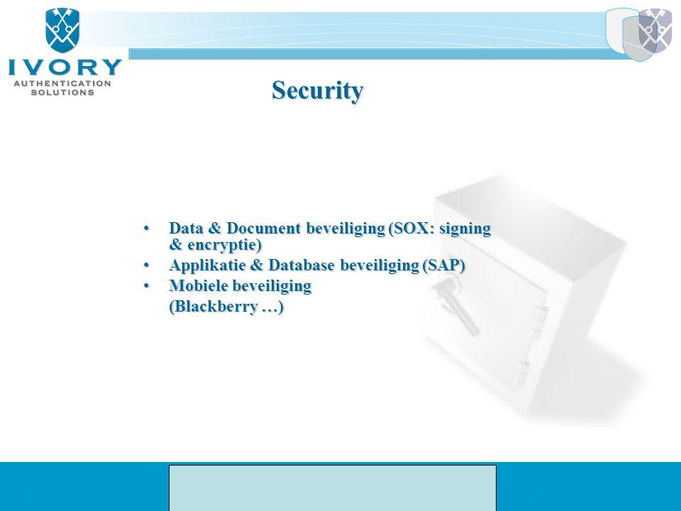 Security Data & Document beveiliging (SOX: signing & encryptie)Data & Document beveiliging (SOX: signing & encryptie) Applikatie & Database beveiligin