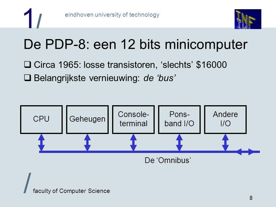 1/1/ / faculty of Computer Science eindhoven university of technology 9 De eerste microprocessor: Intel 4004  15 november 1971  2300 transistors  4 bits processor, 4096 byte programma, 640 x 4 bit gegevens  60000 instructies/sec  Voor zakrekenmachine!