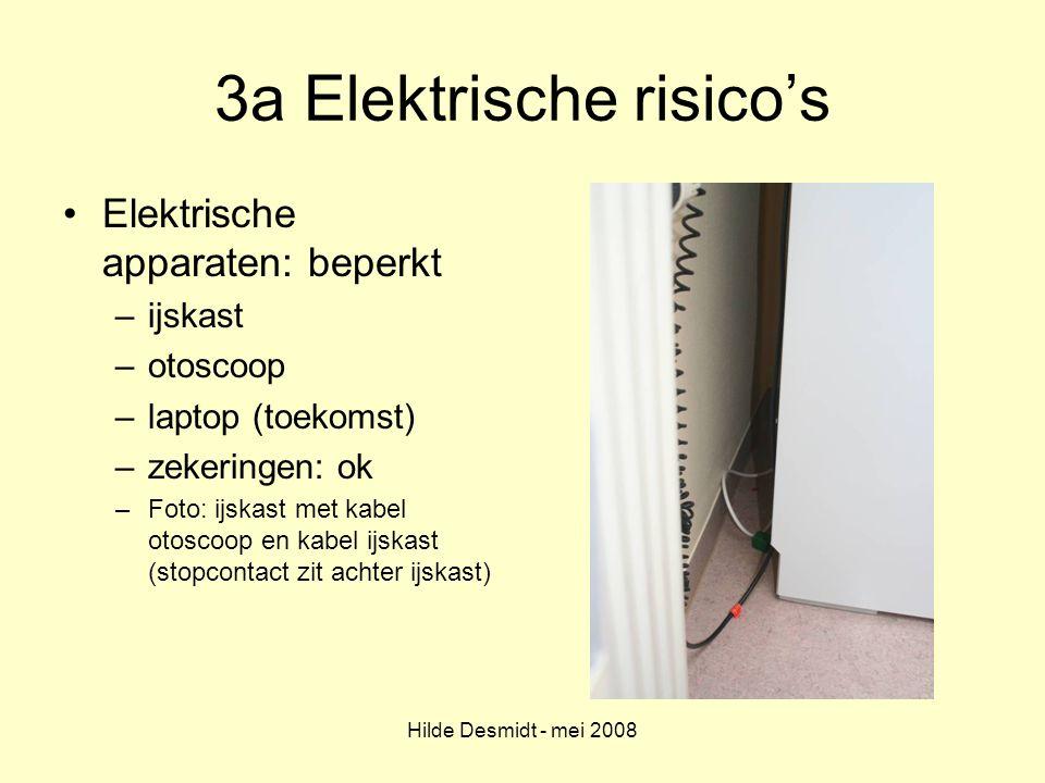 Hilde Desmidt - mei 2008 3a Elektrische risico's Elektrische apparaten: beperkt –ijskast –otoscoop –laptop (toekomst) –zekeringen: ok –Foto: ijskast m