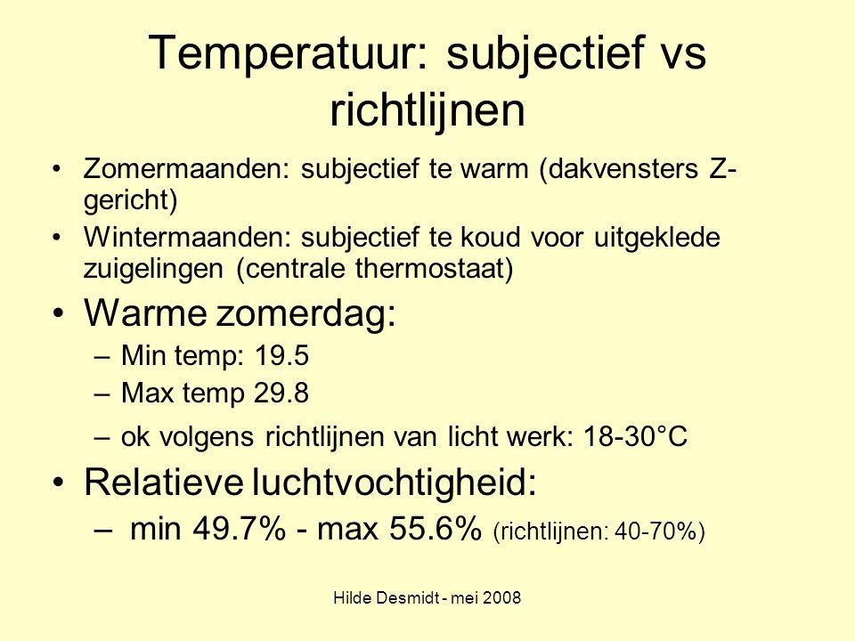 Hilde Desmidt - mei 2008 Temperatuur: subjectief vs richtlijnen Zomermaanden: subjectief te warm (dakvensters Z- gericht) Wintermaanden: subjectief te