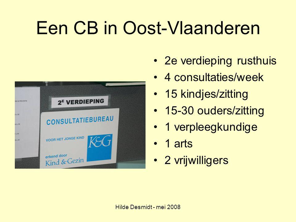 Hilde Desmidt - mei 2008 Een CB in Oost-Vlaanderen 2e verdieping rusthuis 4 consultaties/week 15 kindjes/zitting 15-30 ouders/zitting 1 verpleegkundig