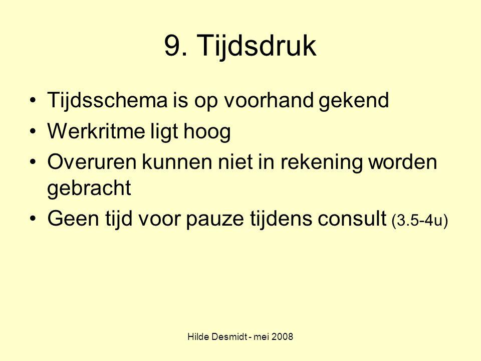 Hilde Desmidt - mei 2008 9. Tijdsdruk Tijdsschema is op voorhand gekend Werkritme ligt hoog Overuren kunnen niet in rekening worden gebracht Geen tijd