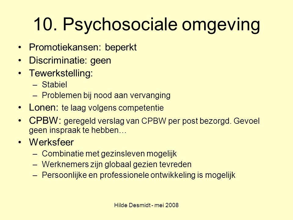 Hilde Desmidt - mei 2008 10. Psychosociale omgeving Promotiekansen: beperkt Discriminatie: geen Tewerkstelling: –Stabiel –Problemen bij nood aan verva