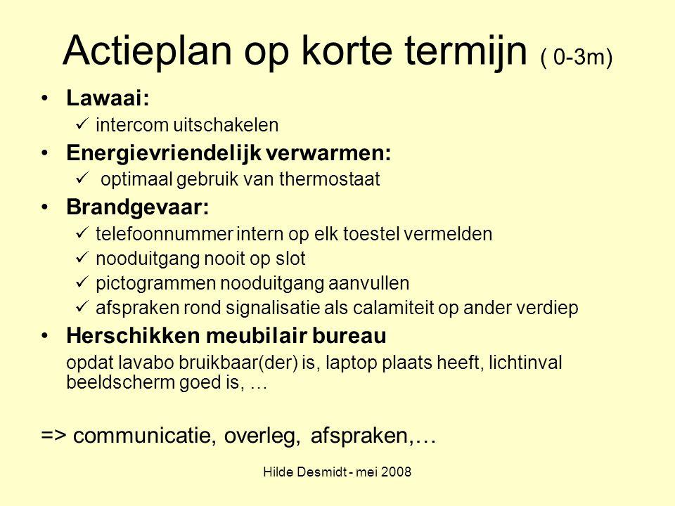 Hilde Desmidt - mei 2008 Actieplan op korte termijn ( 0-3m) Lawaai: intercom uitschakelen Energievriendelijk verwarmen: optimaal gebruik van thermosta