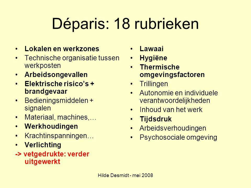 Hilde Desmidt - mei 2008 Déparis: 18 rubrieken Lokalen en werkzones Technische organisatie tussen werkposten Arbeidsongevallen Elektrische risico's +