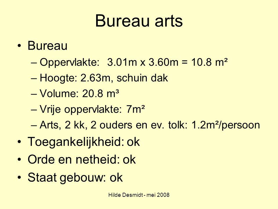 Hilde Desmidt - mei 2008 Bureau arts Bureau –Oppervlakte: 3.01m x 3.60m = 10.8 m² –Hoogte: 2.63m, schuin dak –Volume: 20.8 m³ –Vrije oppervlakte: 7m²