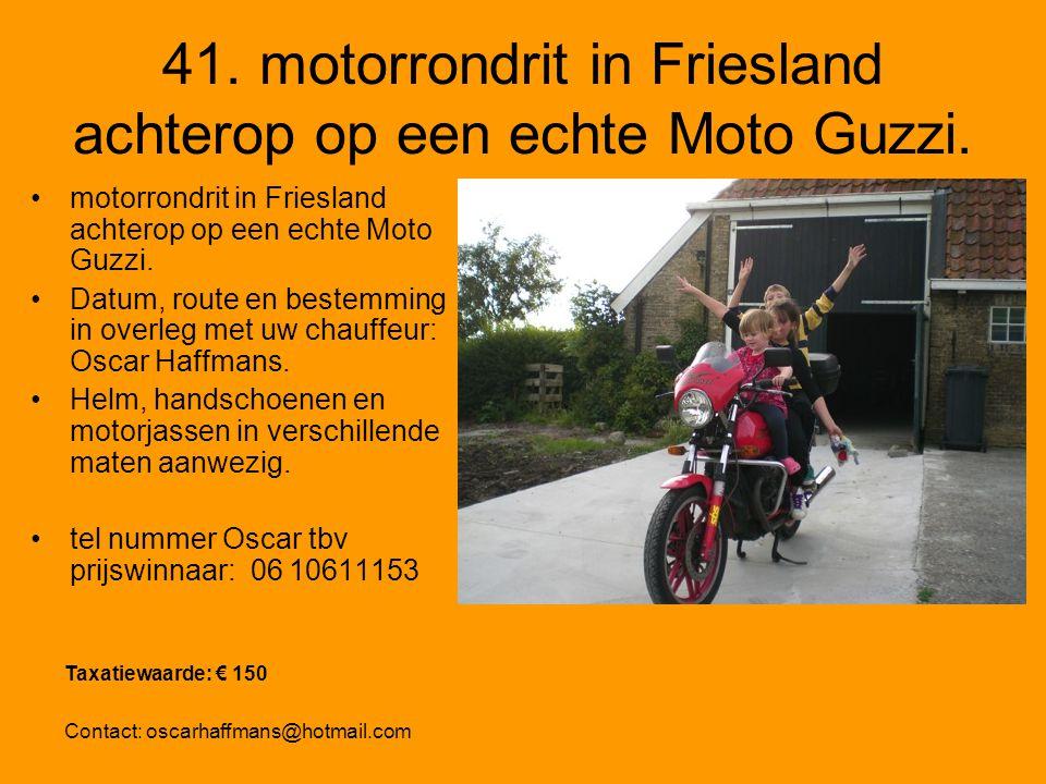 41. motorrondrit in Friesland achterop op een echte Moto Guzzi.