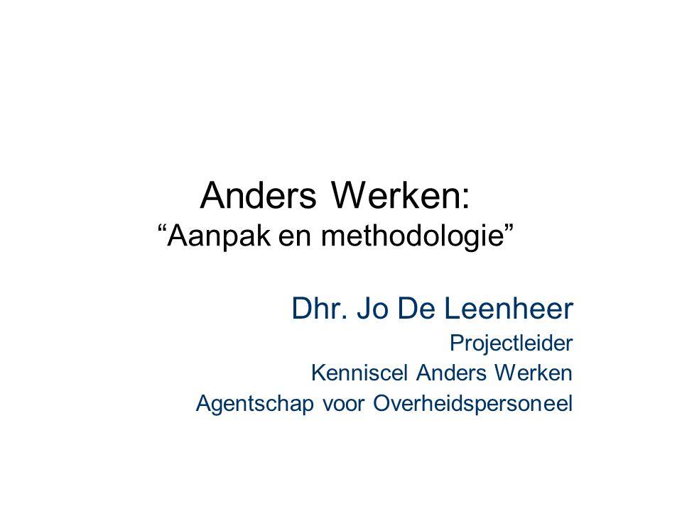 """Anders Werken: """"Aanpak en methodologie"""" Dhr. Jo De Leenheer Projectleider Kenniscel Anders Werken Agentschap voor Overheidspersoneel"""