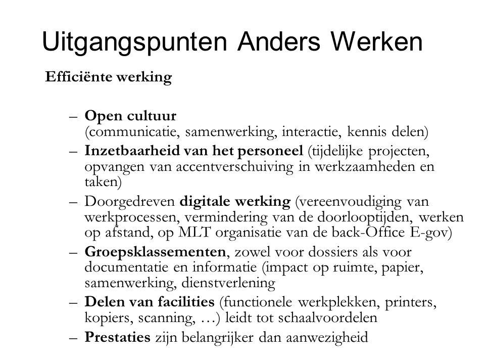 Uitgangspunten Anders Werken Efficiënte werking –Open cultuur (communicatie, samenwerking, interactie, kennis delen) –Inzetbaarheid van het personeel