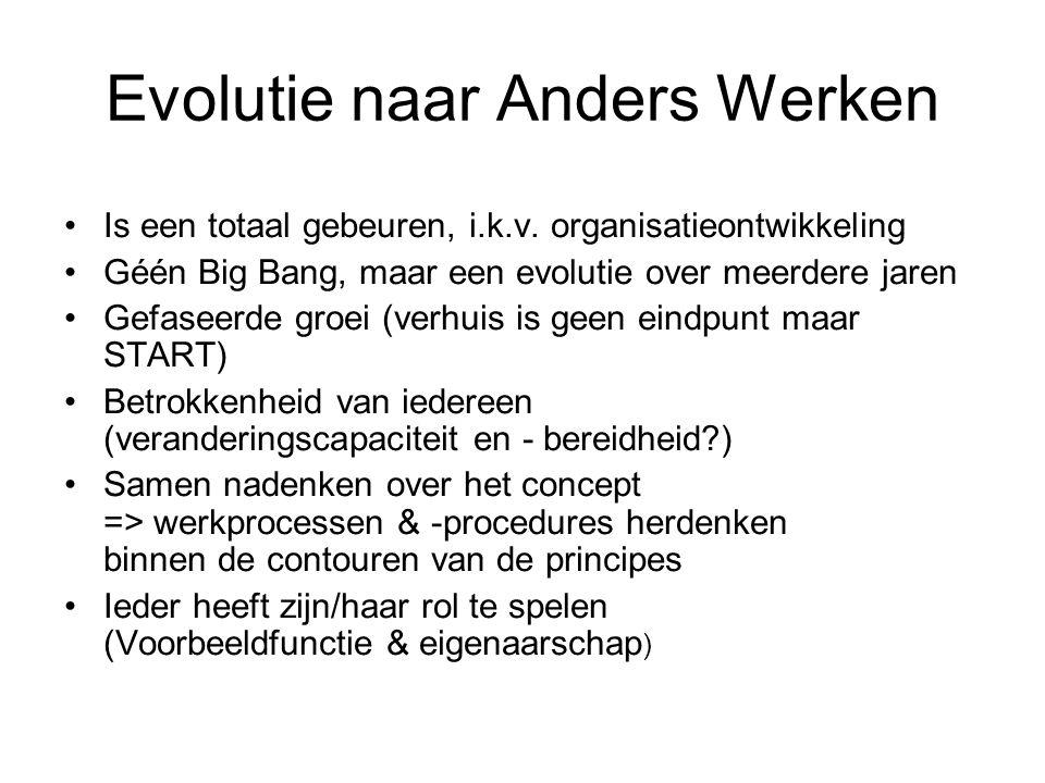 Evolutie naar Anders Werken Is een totaal gebeuren, i.k.v. organisatieontwikkeling Géén Big Bang, maar een evolutie over meerdere jaren Gefaseerde gro