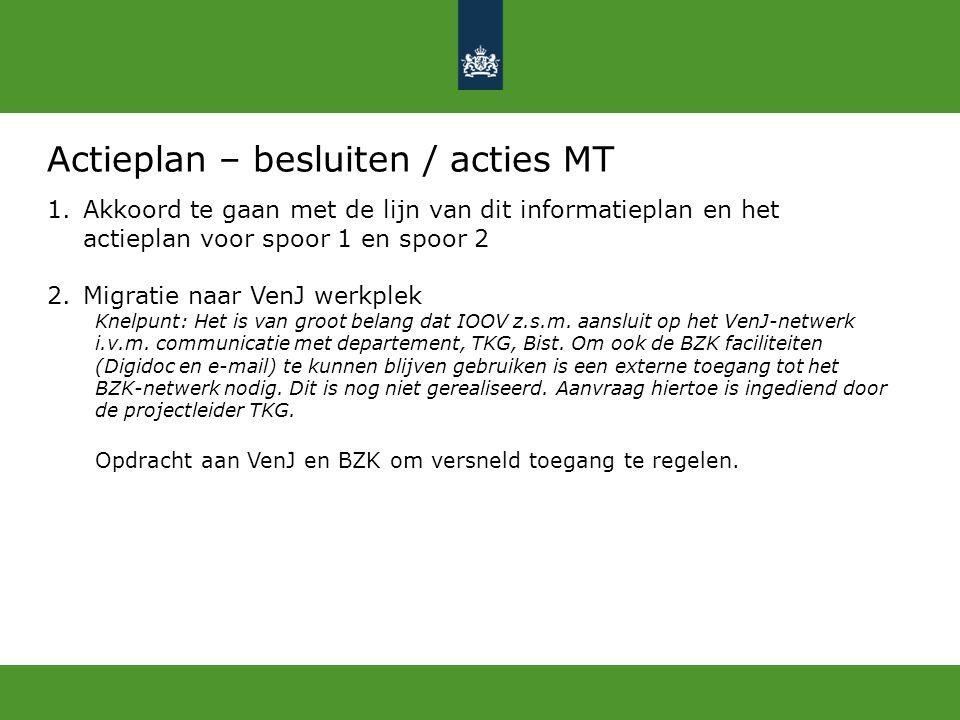 Actieplan – besluiten / acties MT 1.Akkoord te gaan met de lijn van dit informatieplan en het actieplan voor spoor 1 en spoor 2 2.Migratie naar VenJ w