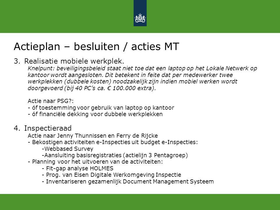 Actieplan – besluiten / acties MT 3.Realisatie mobiele werkplek. Knelpunt: beveiligingsbeleid staat niet toe dat een laptop op het Lokale Netwerk op k
