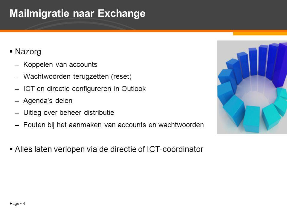 Page  4 Mailmigratie naar Exchange  Nazorg –Koppelen van accounts –Wachtwoorden terugzetten (reset) –ICT en directie configureren in Outlook –Agenda