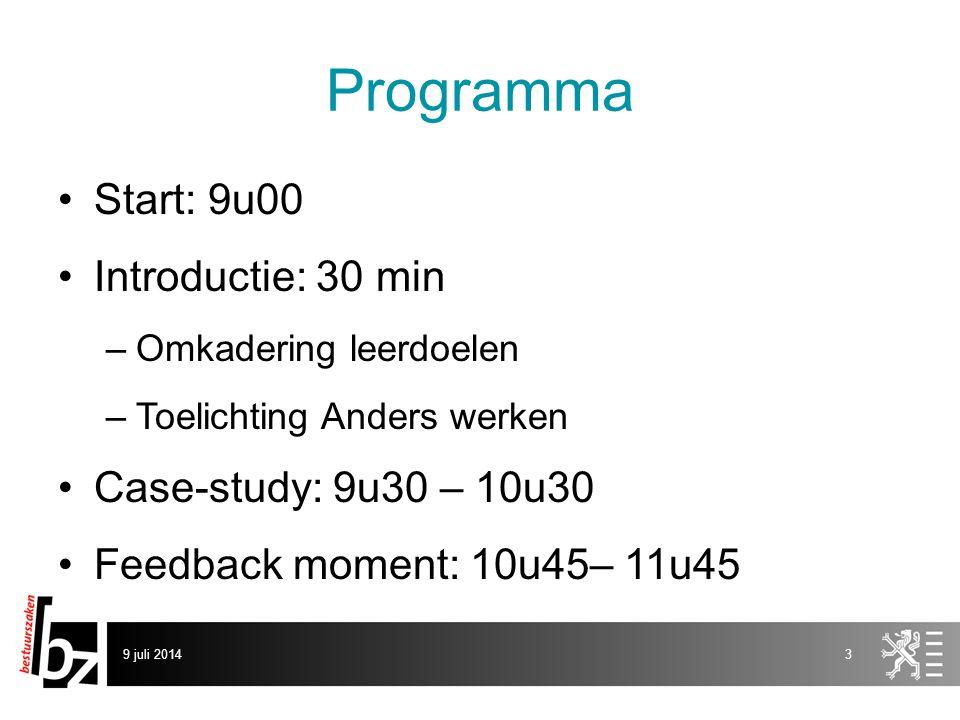 Programma Start: 9u00 Introductie: 30 min –Omkadering leerdoelen –Toelichting Anders werken Case-study: 9u30 – 10u30 Feedback moment: 10u45– 11u45 9 juli 20143
