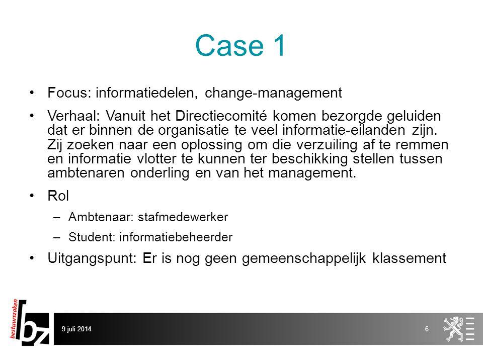Case 1 Focus: informatiedelen, change-management Verhaal: Vanuit het Directiecomité komen bezorgde geluiden dat er binnen de organisatie te veel informatie-eilanden zijn.