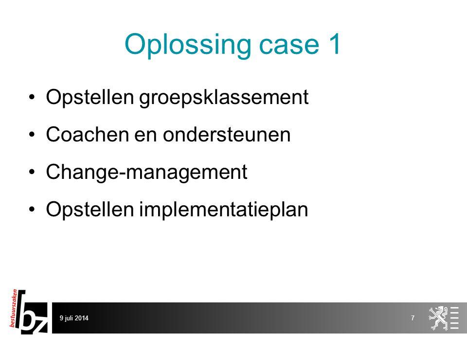 Oplossing case 1 Opstellen groepsklassement Coachen en ondersteunen Change-management Opstellen implementatieplan 9 juli 20147