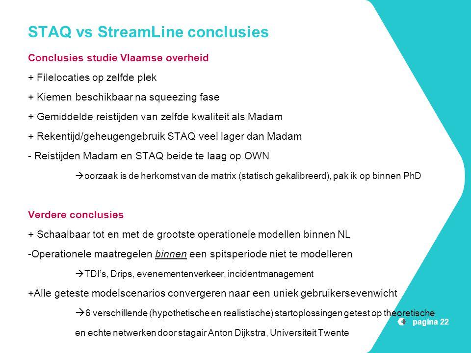 STAQ vs StreamLine conclusies Conclusies studie Vlaamse overheid + Filelocaties op zelfde plek + Kiemen beschikbaar na squeezing fase + Gemiddelde rei