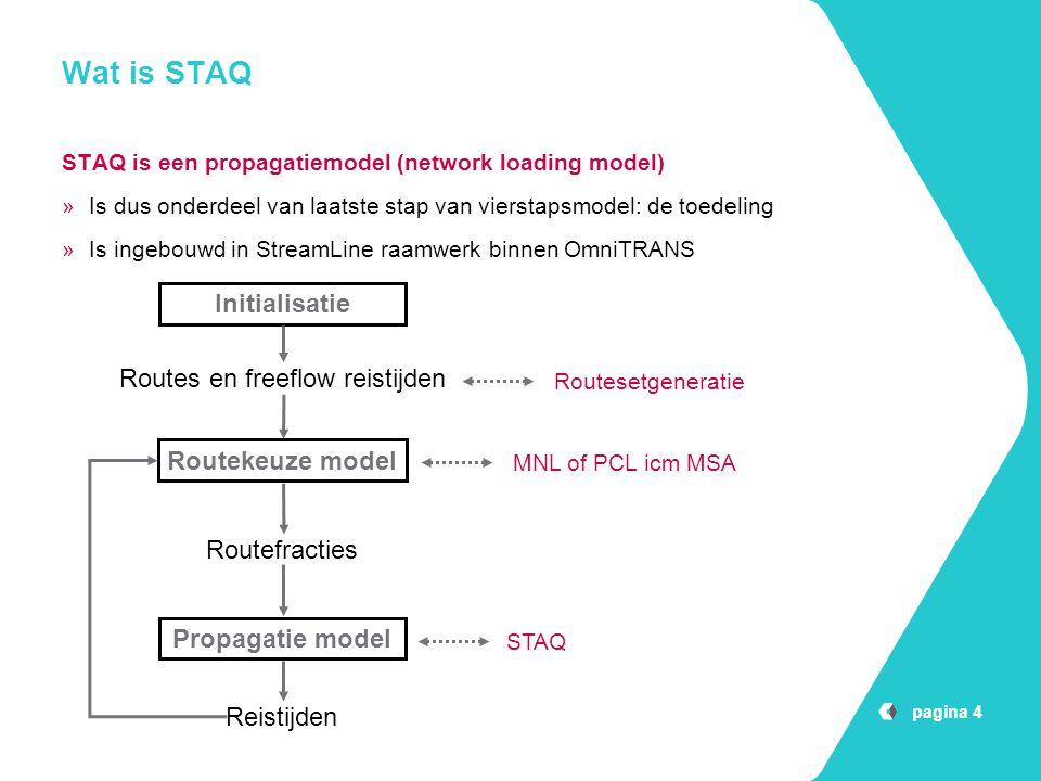 pagina 4 Wat is STAQ STAQ is een propagatiemodel (network loading model) »Is dus onderdeel van laatste stap van vierstapsmodel: de toedeling »Is ingeb