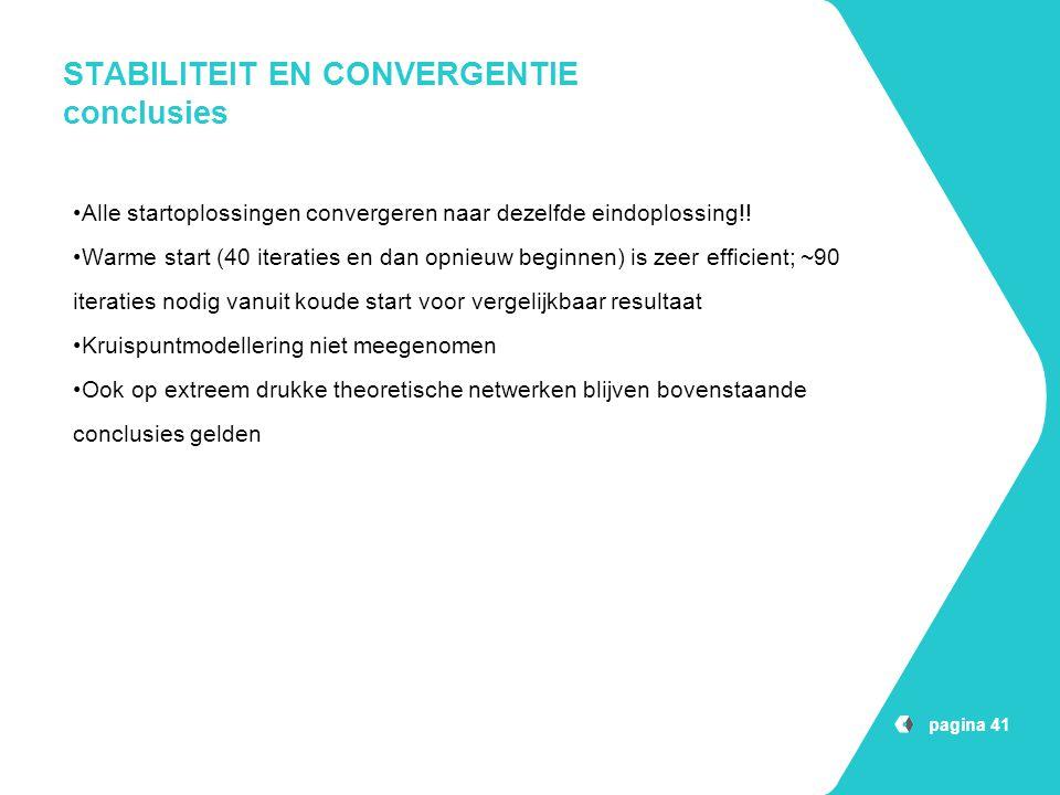 STABILITEIT EN CONVERGENTIE conclusies pagina 41 Alle startoplossingen convergeren naar dezelfde eindoplossing!! Warme start (40 iteraties en dan opni