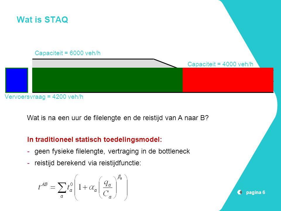 pagina 6 Wat is STAQ Capaciteit = 4000 veh/h Capaciteit = 6000 veh/h Vervoersvraag = 4200 veh/h AB Wat is na een uur de filelengte en de reistijd van