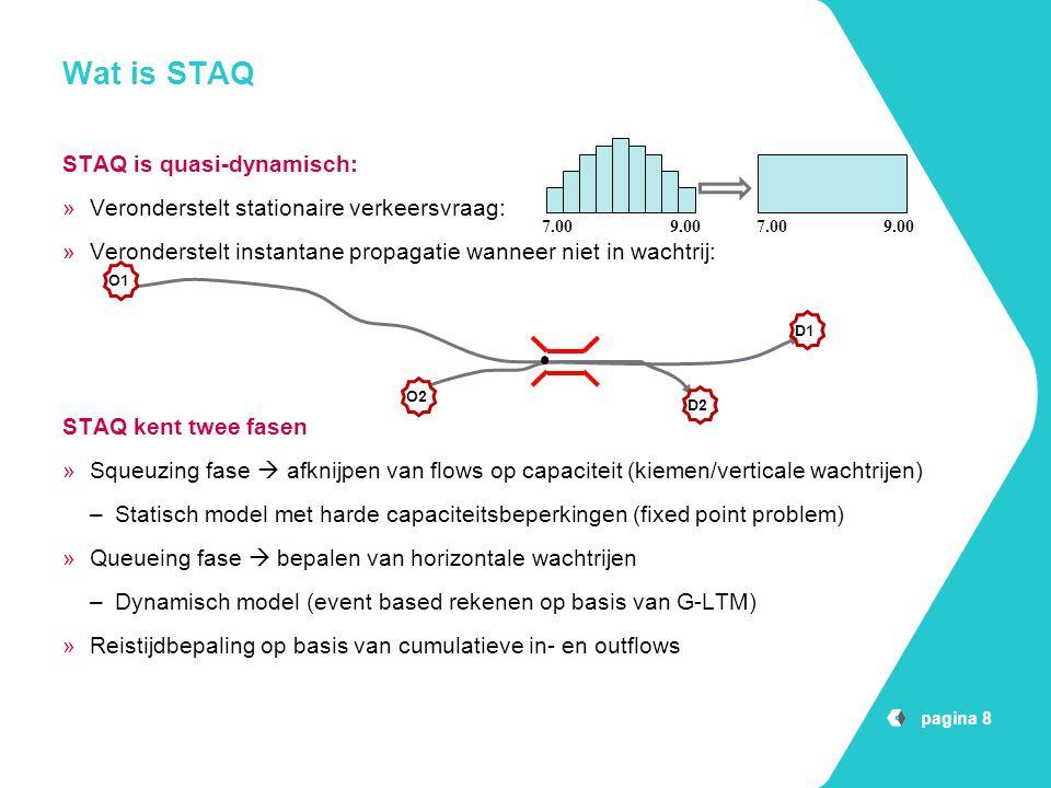 pagina 8 Wat is STAQ STAQ is quasi-dynamisch: »Veronderstelt stationaire verkeersvraag: »Veronderstelt instantane propagatie wanneer niet in wachtrij: