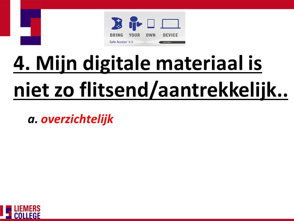 4. Mijn digitale materiaal is niet zo flitsend/aantrekkelijk.. a. overzichtelijk