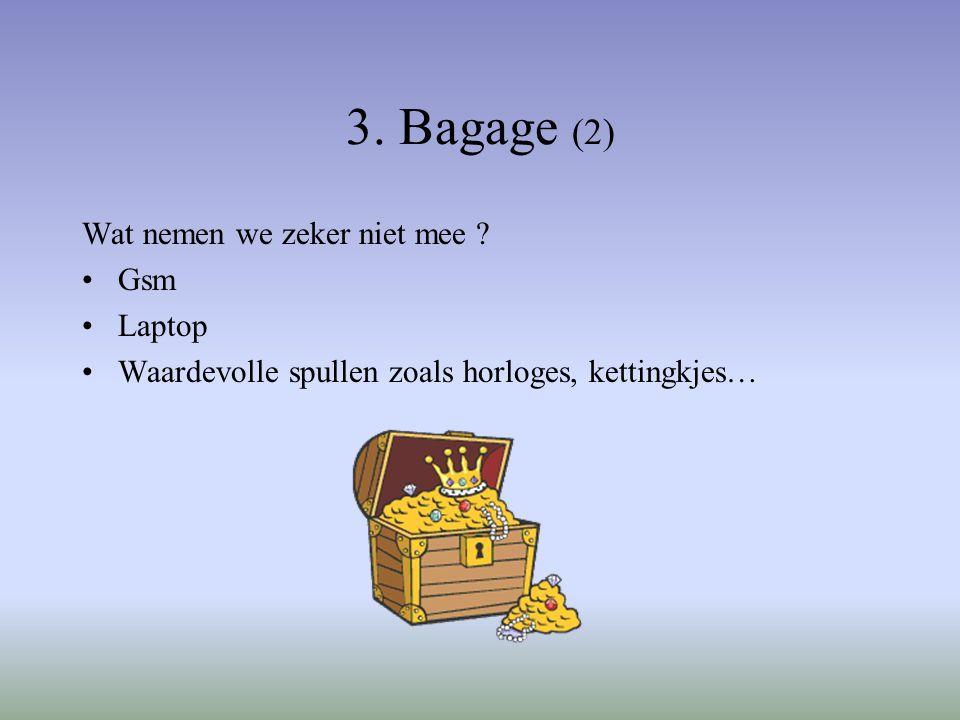 3. Bagage (2) Wat nemen we zeker niet mee .
