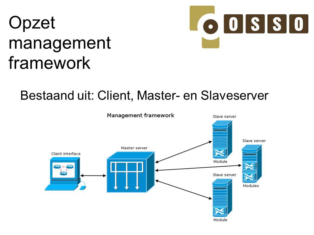 Opzet management framework Bestaand uit: Client, Master- en Slaveserver