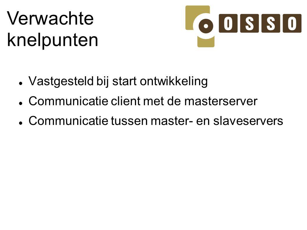 Verwachte knelpunten Vastgesteld bij start ontwikkeling Communicatie client met de masterserver Communicatie tussen master- en slaveservers