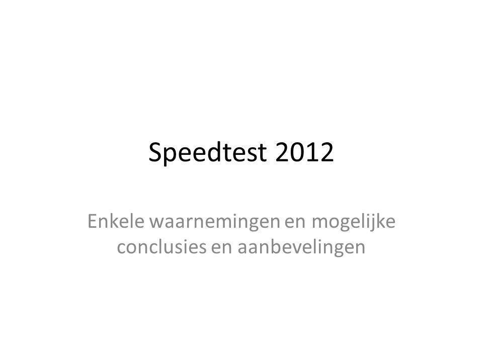 Speedtest 2012 Enkele waarnemingen en mogelijke conclusies en aanbevelingen