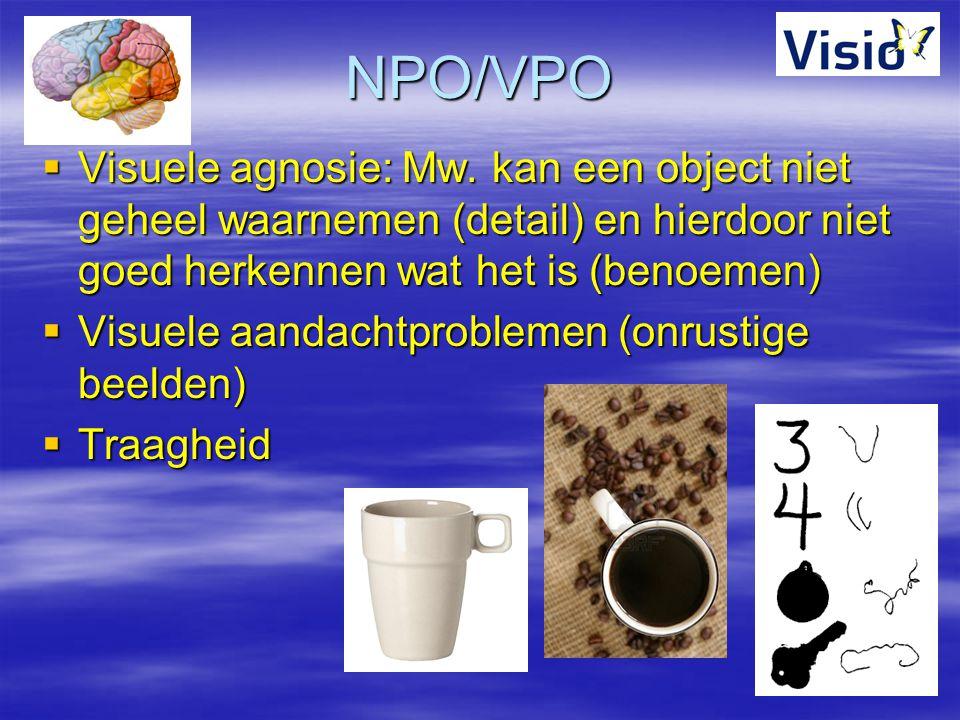 NPO/VPO  Visuele agnosie: Mw. kan een object niet geheel waarnemen (detail) en hierdoor niet goed herkennen wat het is (benoemen)  Visuele aandachtp
