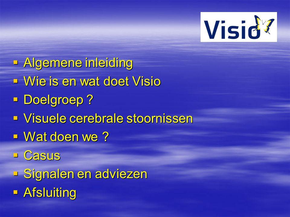  Algemene inleiding  Wie is en wat doet Visio  Doelgroep ?  Visuele cerebrale stoornissen  Wat doen we ?  Casus  Signalen en adviezen  Afsluit