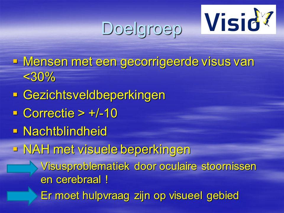 Doelgroep  Mensen met een gecorrigeerde visus van <30%  Gezichtsveldbeperkingen  Correctie > +/-10  Nachtblindheid  NAH met visuele beperkingen V
