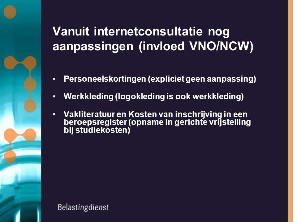 Vanuit internetconsultatie nog aanpassingen (invloed VNO/NCW) Personeelskortingen (expliciet geen aanpassing) Werkkleding (logokleding is ook werkkled