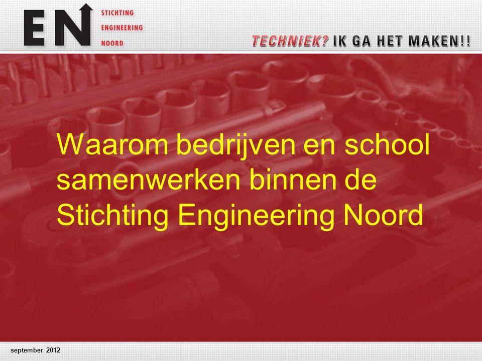 september 2012 Waarom bedrijven en school samenwerken binnen de Stichting Engineering Noord
