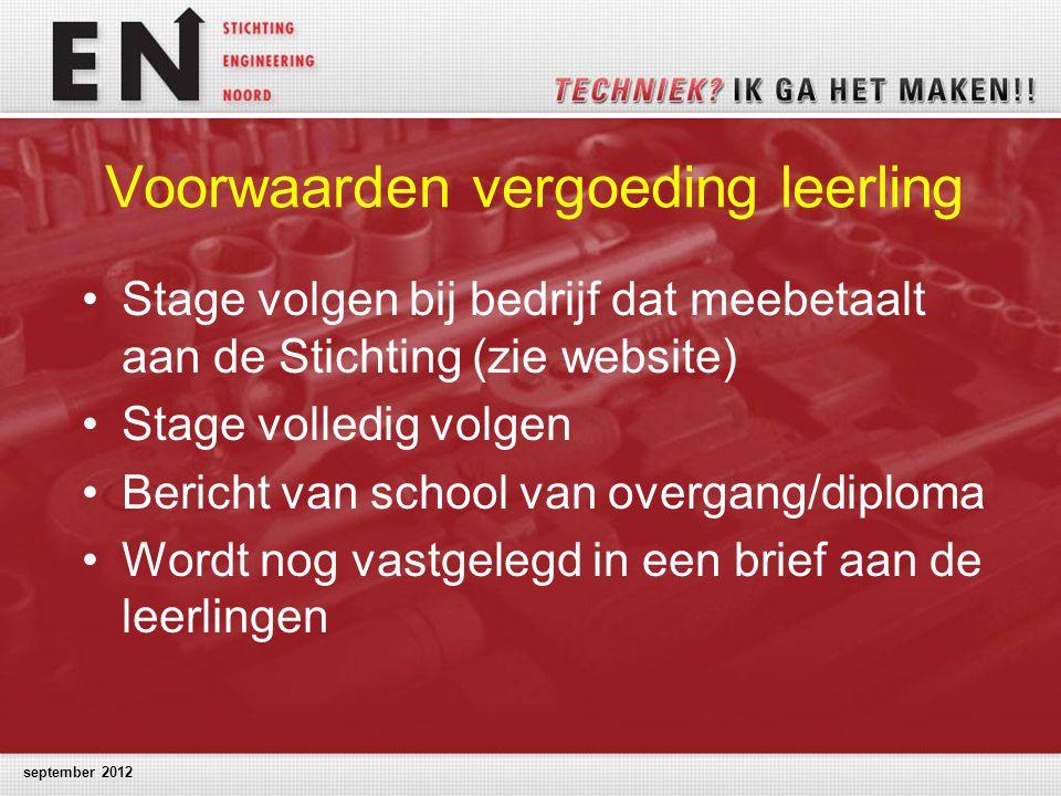 Voorwaarden vergoeding leerling Stage volgen bij bedrijf dat meebetaalt aan de Stichting (zie website) Stage volledig volgen Bericht van school van ov