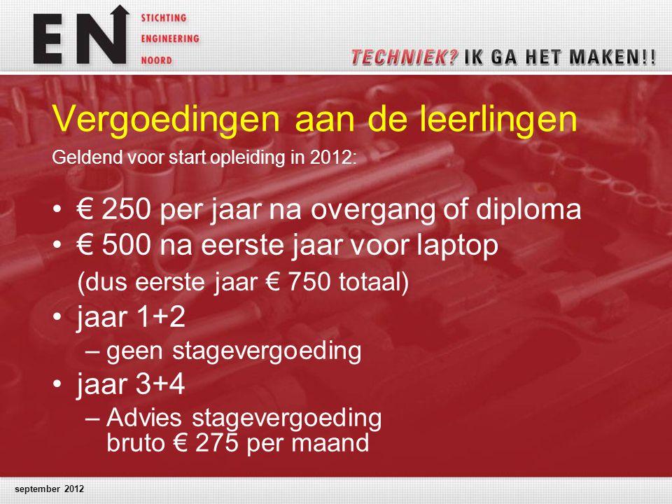 september 2012 Vergoedingen aan de leerlingen Geldend voor start opleiding in 2012: € 250 per jaar na overgang of diploma € 500 na eerste jaar voor la