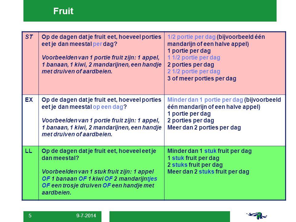 9-7-2014 5 Fruit STOp de dagen dat je fruit eet, hoeveel porties eet je dan meestal per dag? Voorbeelden van 1 portie fruit zijn: 1 appel, 1 banaan, 1