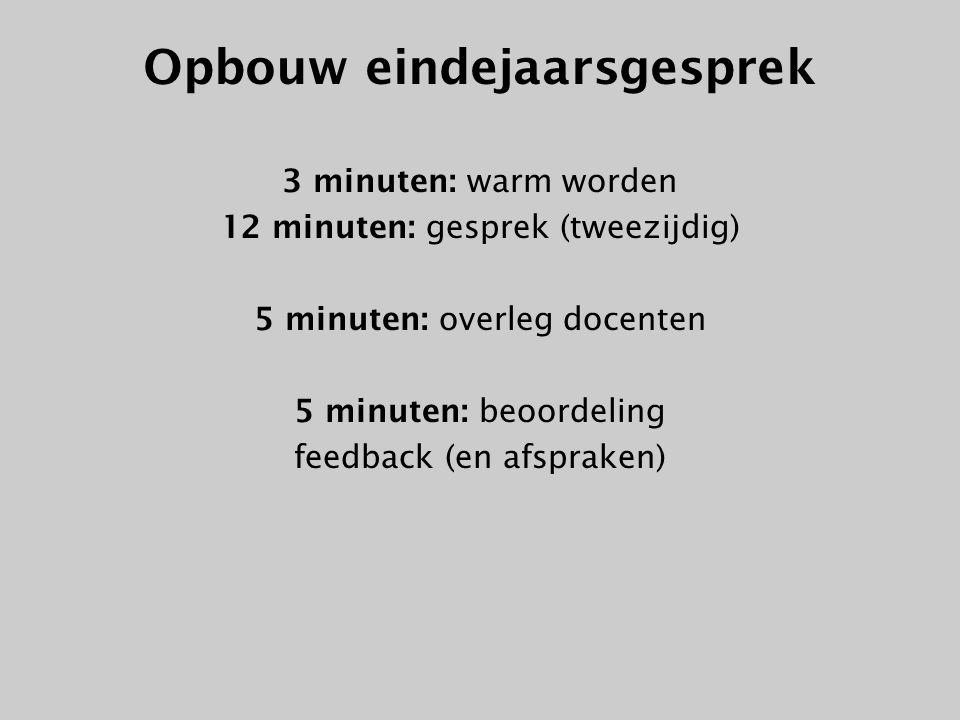 Opbouw eindejaarsgesprek 3 minuten: warm worden 12 minuten: gesprek (tweezijdig) 5 minuten: overleg docenten 5 minuten: beoordeling feedback (en afspr
