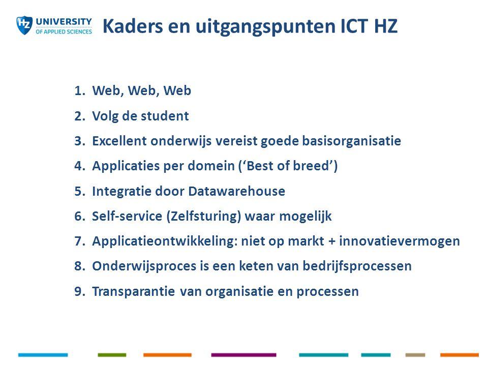1. Web, Web, Web 2. Volg de student 3. Excellent onderwijs vereist goede basisorganisatie 4. Applicaties per domein ('Best of breed') 5. Integratie do