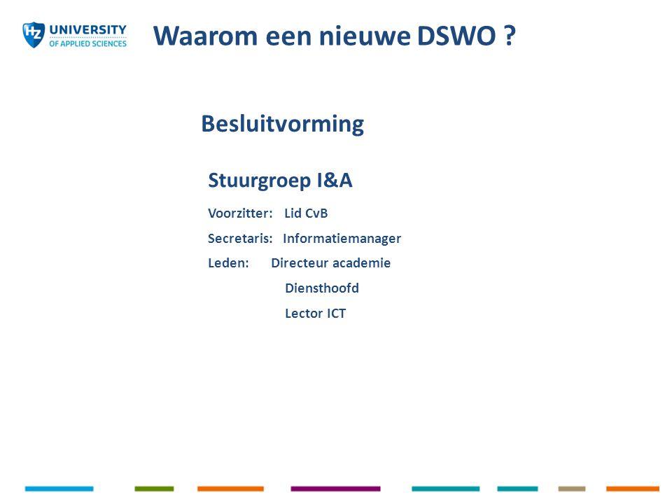 Waarom een nieuwe DSWO ? Stuurgroep I&A Voorzitter: Lid CvB Secretaris: Informatiemanager Leden: Directeur academie Diensthoofd Lector ICT Besluitvorm