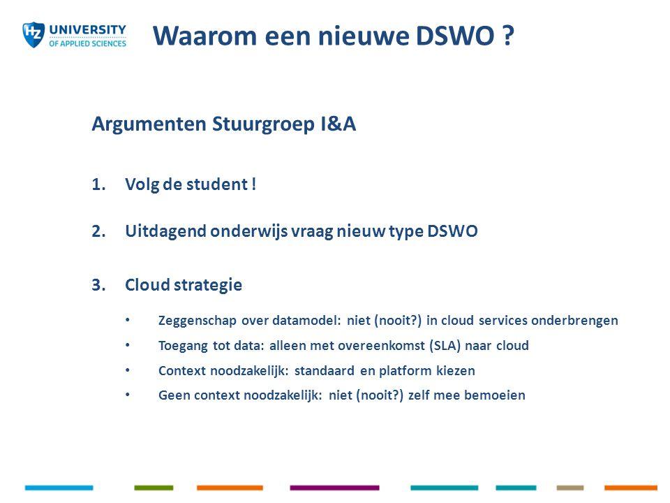 Argumenten Stuurgroep I&A 1. Volg de student ! 2.Uitdagend onderwijs vraag nieuw type DSWO 3.Cloud strategie Zeggenschap over datamodel: niet (nooit?)