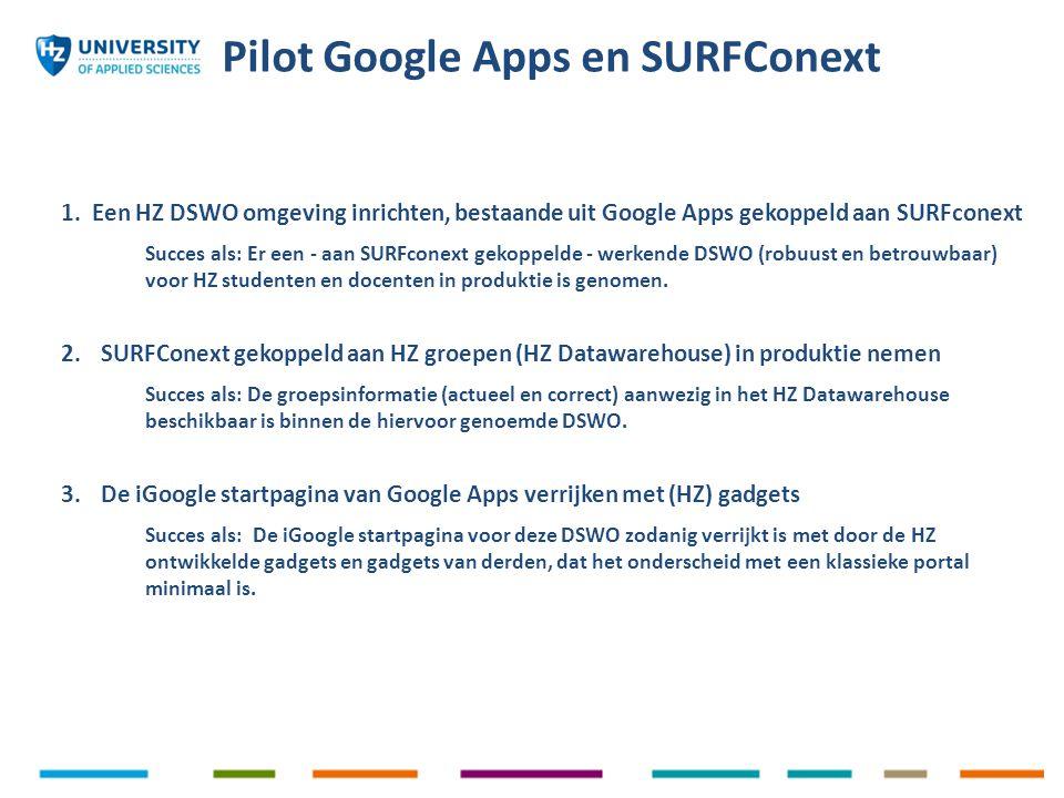 1.Een HZ DSWO omgeving inrichten, bestaande uit Google Apps gekoppeld aan SURFconext Succes als: Er een - aan SURFconext gekoppelde - werkende DSWO (r