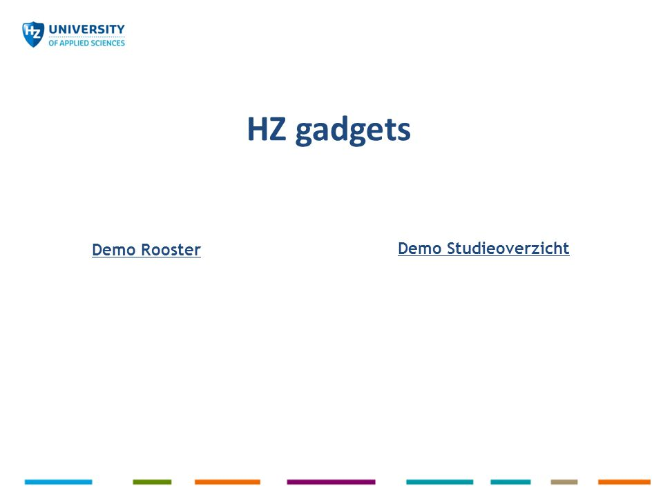 HZ gadgets Demo Rooster Demo Studieoverzicht
