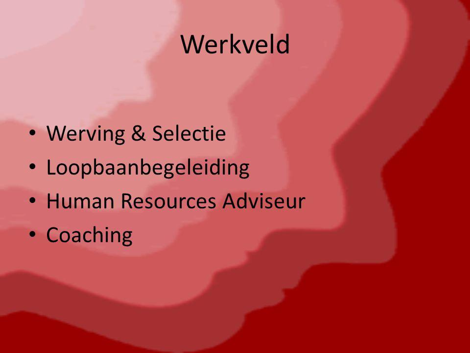 Werkveld Werving & Selectie Loopbaanbegeleiding Human Resources Adviseur Coaching
