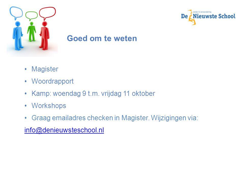 Goed om te weten Magister Woordrapport Kamp: woendag 9 t.m. vrijdag 11 oktober Workshops Graag emailadres checken in Magister. Wijzigingen via: info@d
