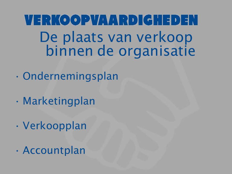 De plaats van verkoop binnen de organisatie Ondernemingsplan Marketingplan Verkoopplan Accountplan