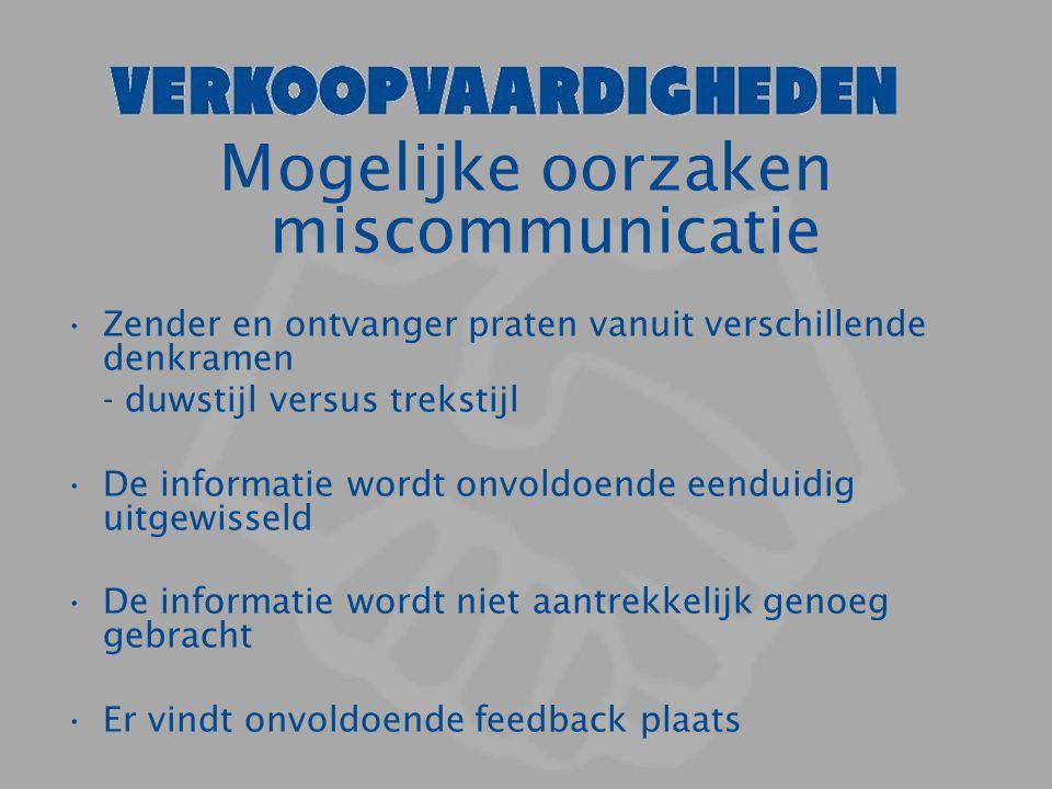 Mogelijke oorzaken miscommunicatie Zender en ontvanger praten vanuit verschillende denkramen - duwstijl versus trekstijl De informatie wordt onvoldoen