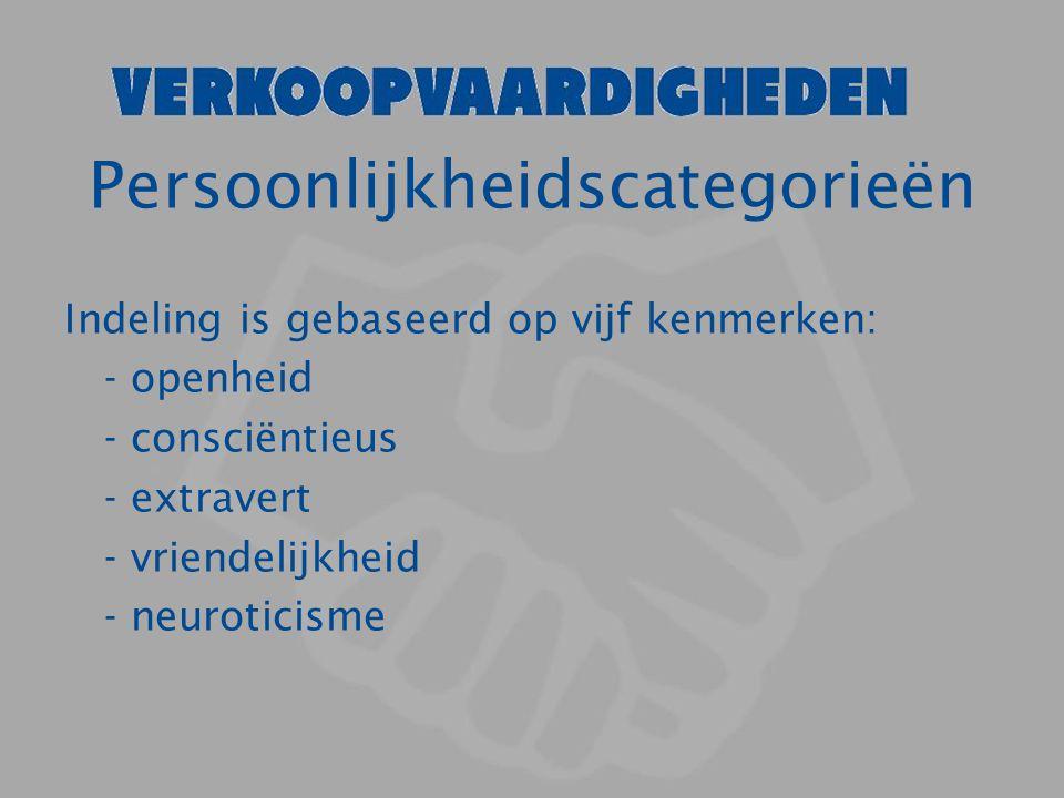 Persoonlijkheidscategorieën Indeling is gebaseerd op vijf kenmerken: - openheid - consciëntieus - extravert - vriendelijkheid - neuroticisme