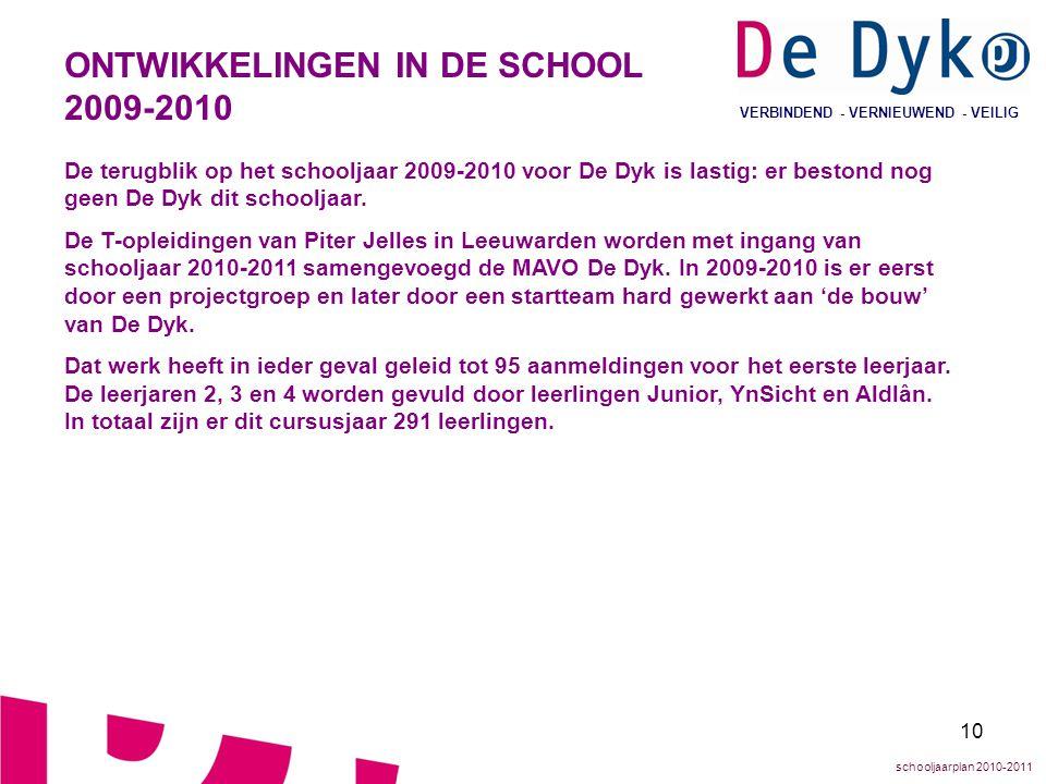 10 VERBINDEND - VERNIEUWEND - VEILIG ONTWIKKELINGEN IN DE SCHOOL 2009-2010 De terugblik op het schooljaar 2009-2010 voor De Dyk is lastig: er bestond
